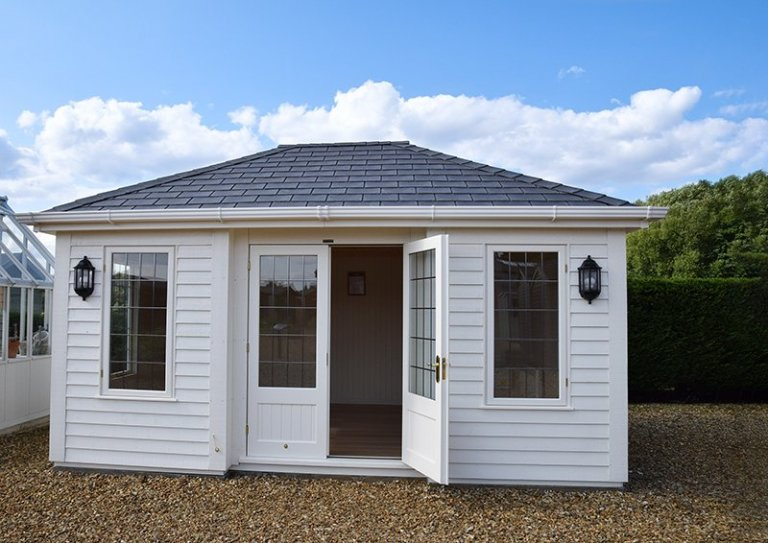 3.6 x 4.8m Garden Room with open door at our Narford HQ