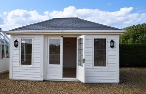 3.6 x 4.8m Garden Room with open door in Farrow & Ball Pointing at our Narford HQ