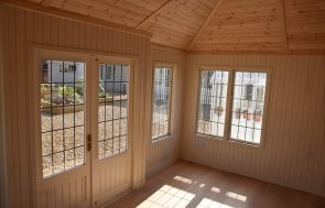 Inside the Garden Room with Farrow & Ball Lime White Painted Matchboard Lining at our Narford HQ
