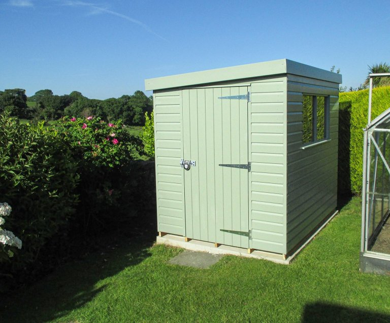 Superior Shed in Sage paint with a pent roof, a single door, and a security pack