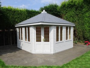 3.6 x 3.6m Weybourne Summerhouse with Shiplap Cladding painted in the colour Pebble