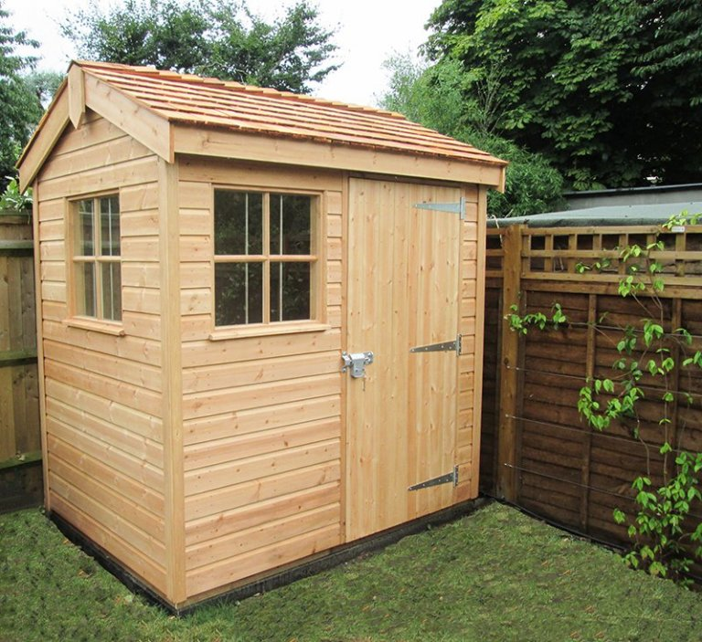 1.5 x 2.1m Superior Shed in Light Oak with Apex Roof covered in Cedar Shingle tiles