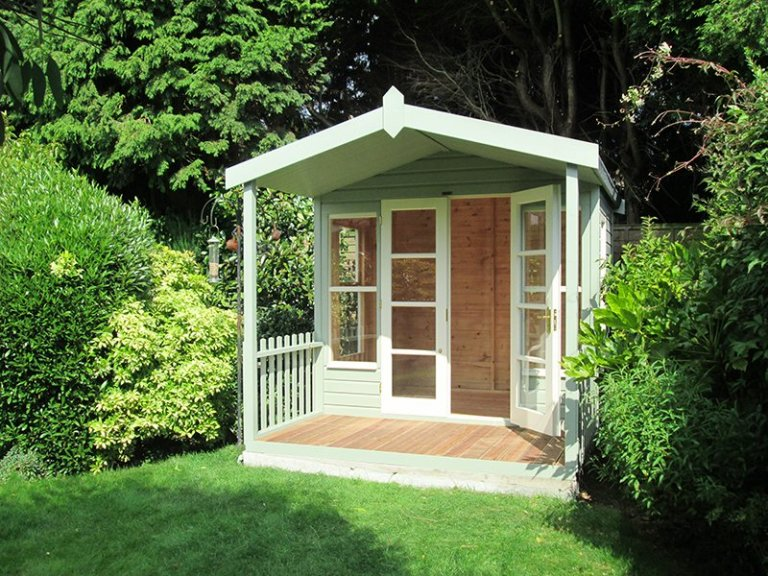 2.4 x 3.0m Morston Summerhouse with Veranda painted in Lizard and Sandstone