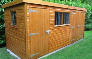 1.8 x 2.4m Superior Shed in Sikkens Teak with Security Pack and Partition