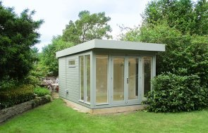 4.2 x 3.0m Salthouse Studio in Sage with storage Partition in the rear