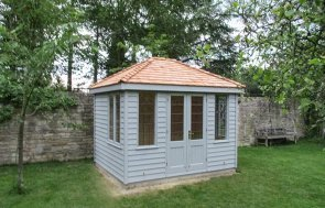 2.4 x 3.0m Cley Summerhouse in Pebble with Cedar Shingle Tiles on the Hipped Roof