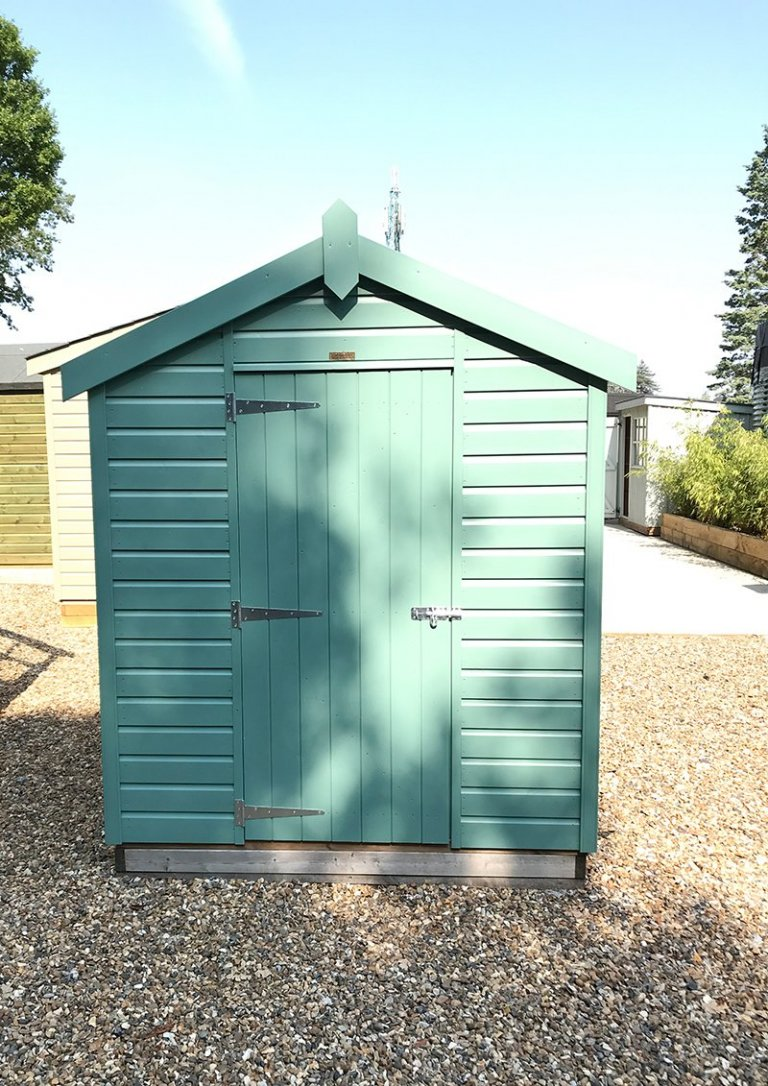 A front gable view of the 1.8 x 2.4m Classic Shed at Sunningdale