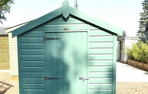 A front gable view of the 1.8 x 2.4m Classic Shed in Mint at Sunningdale