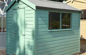 Side view of the 1.8 x 2.4m Classic Shed in Mint at Sunningdale