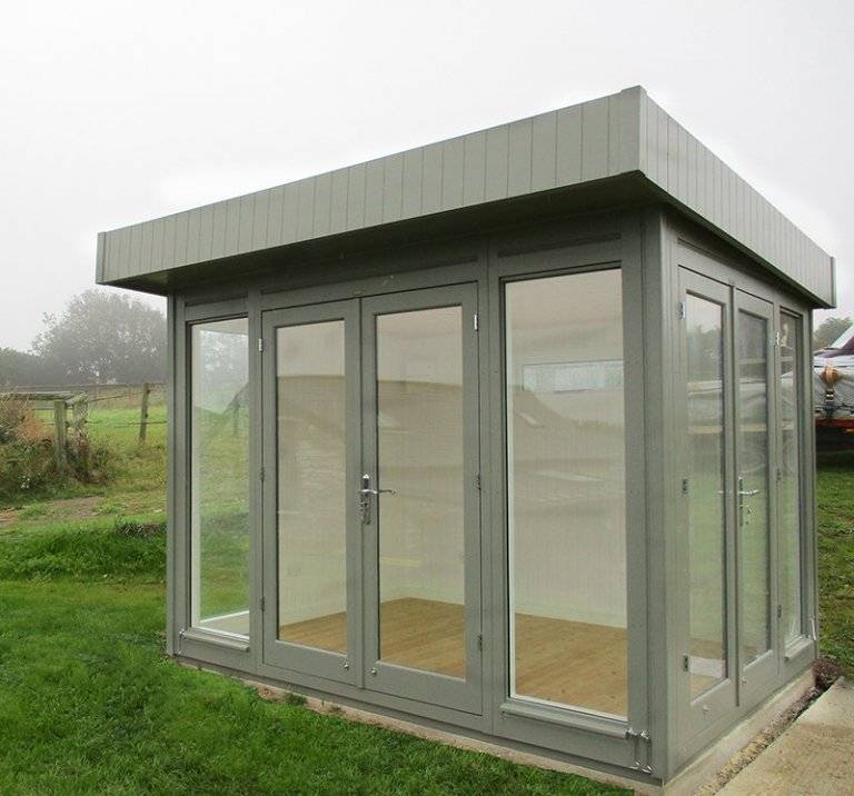 2.4 x 3.0m Salthouse Studio with two sets of double doors in the colour Ash