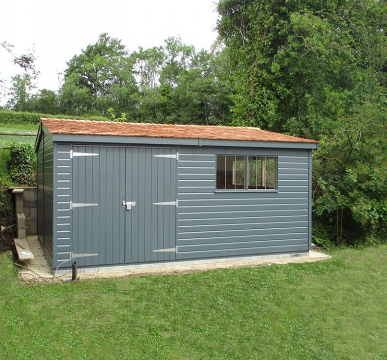3.6 x 4.8m Superior Shed in Slate with Apex Roof covered in Cedar Shingles