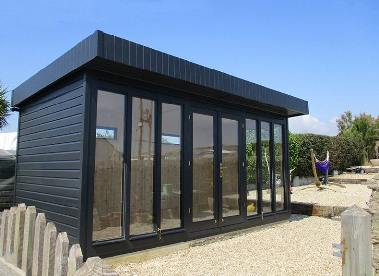 2.4 x 4.8m Salthouse Studio in Farrow & Ball Off-Black with Black Guttering and a Pent Roof