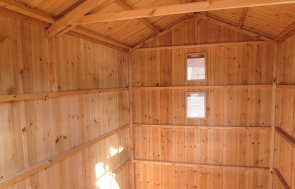 1.8 x 3.0m National Trust Peckover Garden Shed interior on display at Nottingham Show site