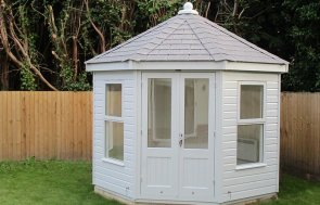 3.0 x 3.0m Wiveton Summerhouse in Saltwater with Chalet-style Windows