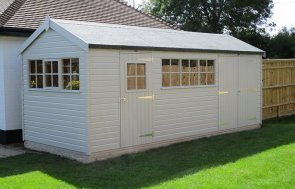 2.4m x 6.0m Superior Shed in Pebble with internal partition