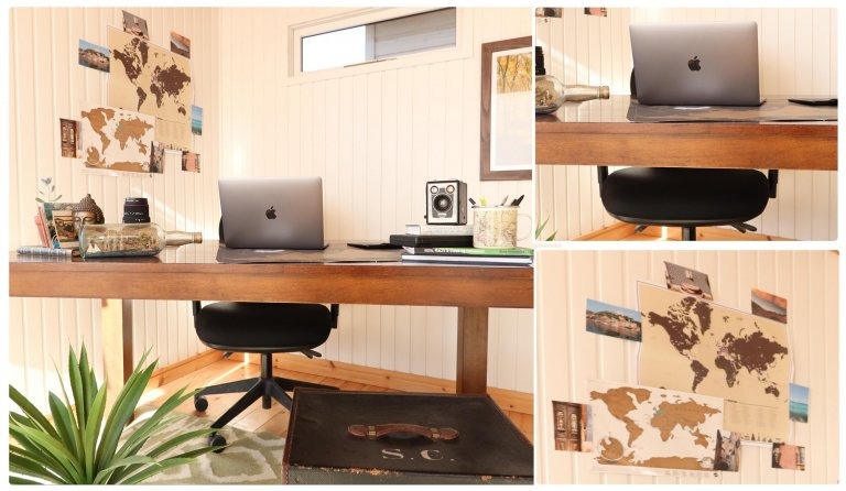Garden Office Blog - Writer's Set Up with dark wood desk and photos on the wall