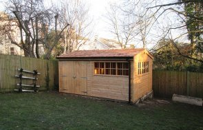 3.0 x 4.6m Light Oak Superior Shed with an Apex Roof covered in Cedar Shingles
