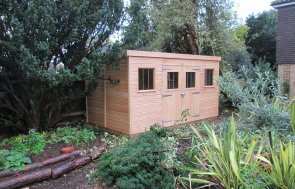 2.4 x 4.2m Pent Roofed Superior Shed in Light Oak with Security Pack