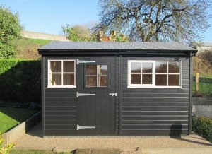 2.4 x 3.6m Superior Shed in two-tone Black & Pebble with Georgian Windows