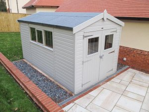 2.4 x 4.2m Apex Roofed Superior Shed in Pebble with Shiplap Cladding and a Security Pack