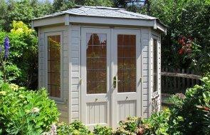 1.8 x 2.5m Wiveton Summerhouse in Farrow & Ball Light Gray with Leaded Windows