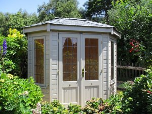 1.8 x 2.5m Wiveton Summerhouse in Farrow & Ball Light Gray with Leaded Windows