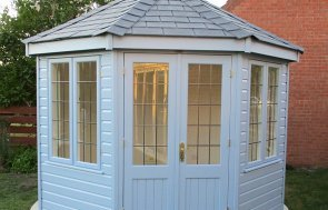 3.0 x 3.0m Wiveton Summerhouse in Sundrenched Blue with Grey Slate Effect Tiles on the roof