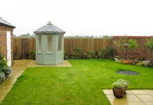 1.8 x 1.8m Wiveton Summerhouse in Farrow & Ball Card Room Green with Leaded Windows