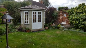 1.8 x 2.5m two-tone Wiveton Summerhouse in Taupe and Ivory with Georgian Windows