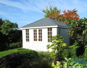 3.0 x 3.6m Sandstone painted Cley Summerhouse with shiplap cladding and grey slate effect tiles