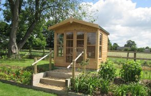 2.4 x 2.4m Blakeney Summerhouse in Light Oak with Apex Roof covered in Heavy Duty Felt