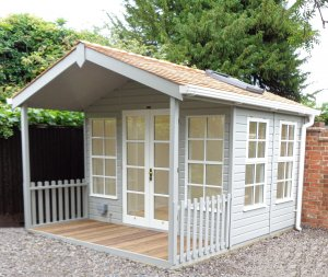 Two-tone Morston Summerhouse in Pebble & Ivory with Georgian and Velux® windows