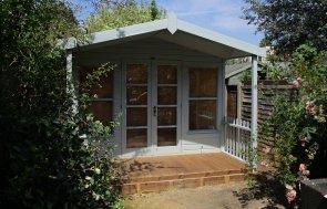 Verdigris Painted Morston Summerhouse with Veranda