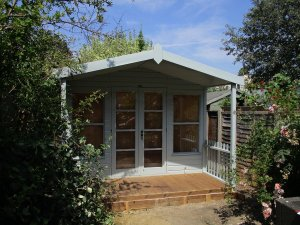 Verdigris Painted Morston Summerhouse with Veranda