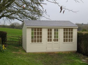 3.6 x 4.2m Holkham Summerhouse in Sandstone with Shiplap Cladding and Georgian Windows