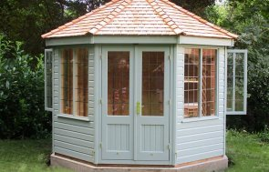 1.8 x 2.5m Wiveton Summerhouse in Sage with Leaded Windows