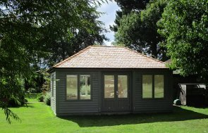 4.2 x 6.0m Garden Room in Ash with Hipped Roof covered in Cedar Shingle tiles