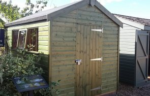 2.4 x 3.0m Superior Shed in Sikkens Green at Brighton