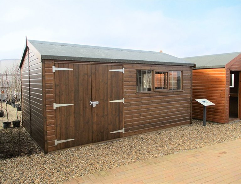 3.0 x 4.2m Superior Shed in Sikkens Walnut at Brighton