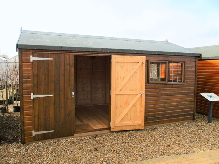 3.0 x 4.2m Superior Shed at Brighton with one door open