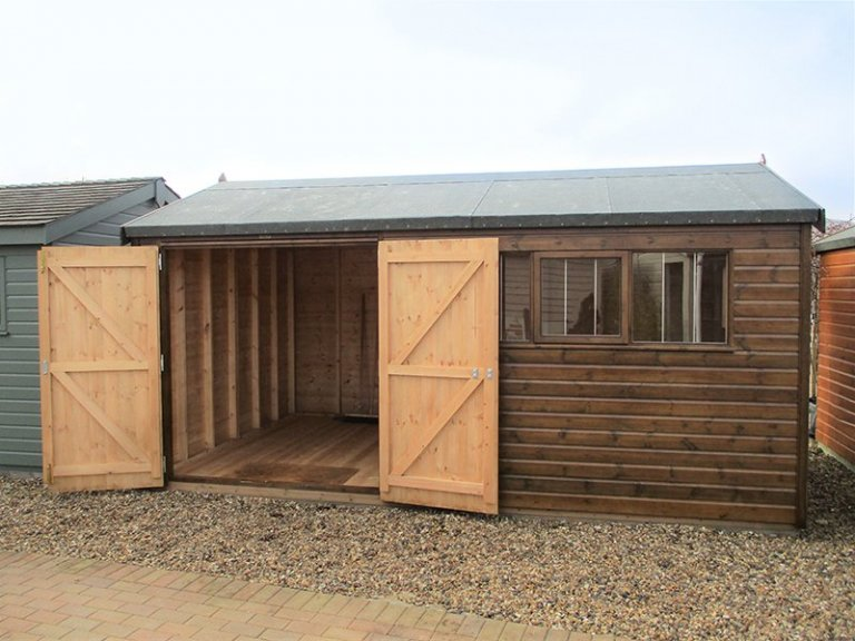 3.0 x 4.2m Superior Shed in Sikkens Walnut at Brighton with both doors open