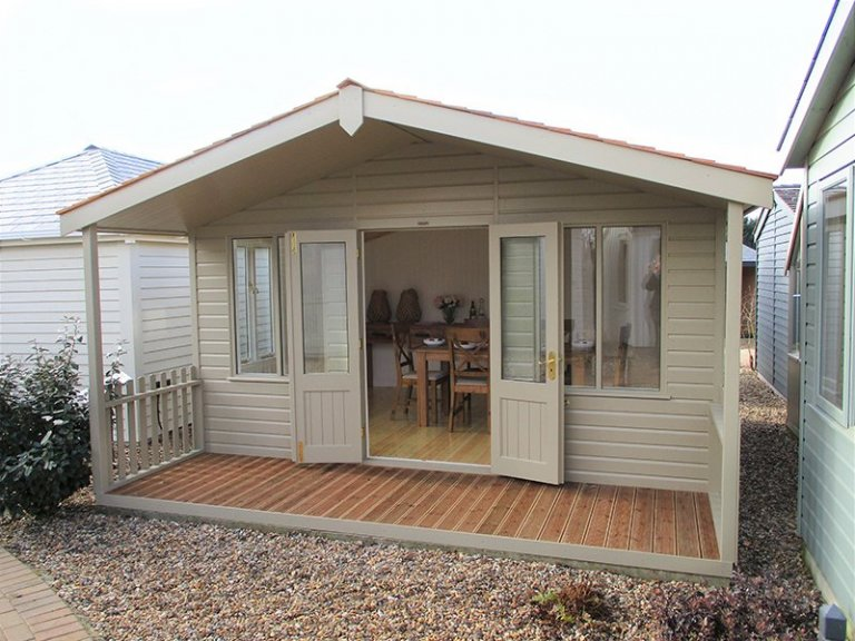 Side view of the 4.2 x 4.8m Morston Summerhouse at Brighton