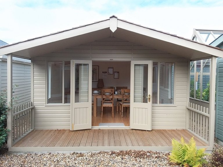 Front view of the 4.2 x 4.8m Morston Summerhouse at Brighton