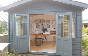 Exterior shot of craft room set up inside 3.6 x 3.0m Binham at Brighton