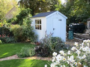 1.8 x 2.4m National Trust Peckover Shed in Painters Grey