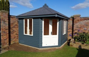 3.0 x 3.0m Weybourne Summerhouse in Slate with leaded windows