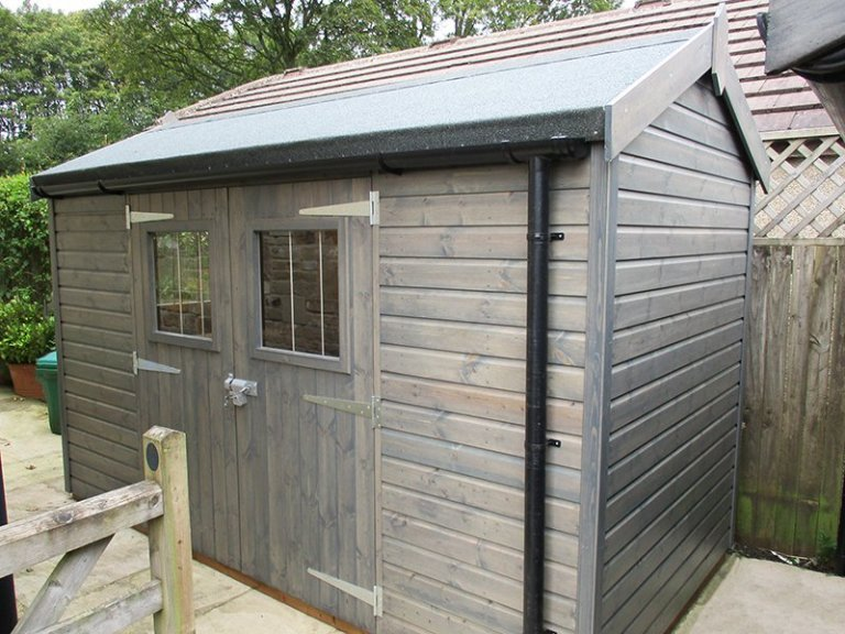 1.8 x 3.6m Superior Shed in Sikkens Grey with Workbench and Security Pack