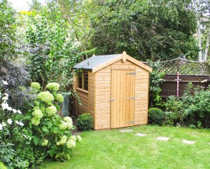 Classic Shed in Light Oak, apex roof and heavy duty felt