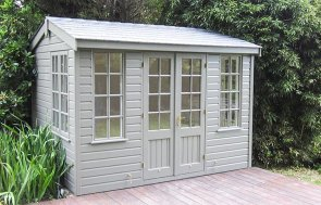 2.4 x 3.0m Holkham Summerhouse in Ash Paint and Shiplap Cladding