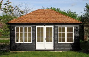 Hipped Roof Garden Room in Black & Ivory paint and Georgian windows